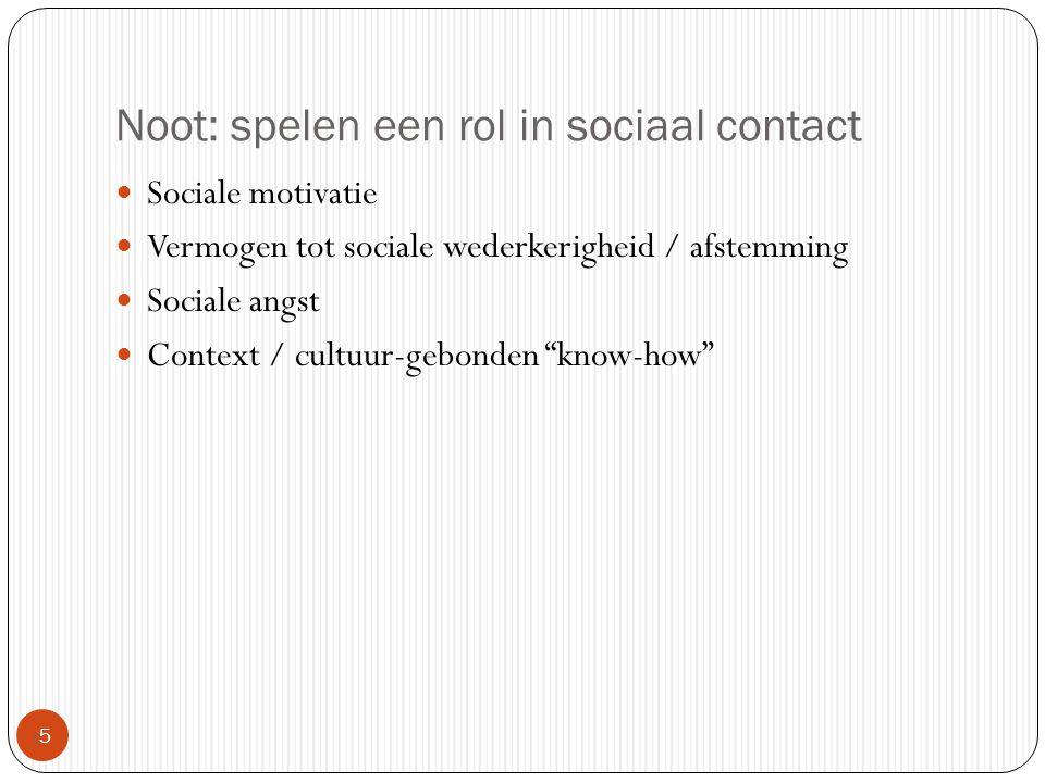 Noot: spelen een rol in sociaal contact