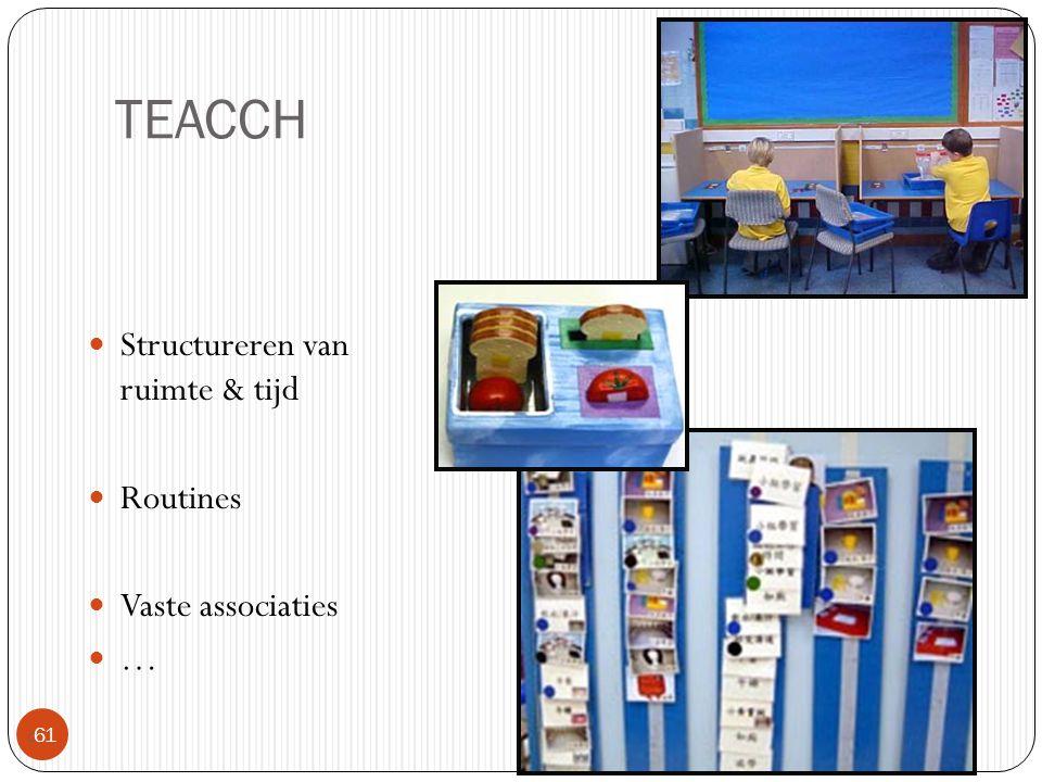 TEACCH Structureren van ruimte & tijd Routines Vaste associaties …