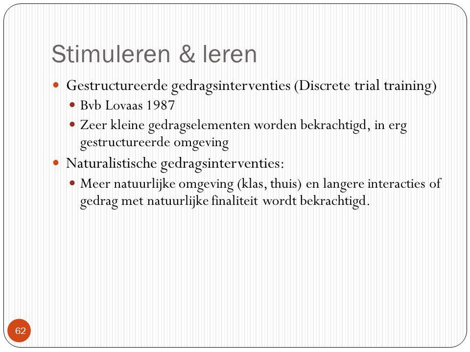 Stimuleren & leren Gestructureerde gedragsinterventies (Discrete trial training) Bvb Lovaas 1987.