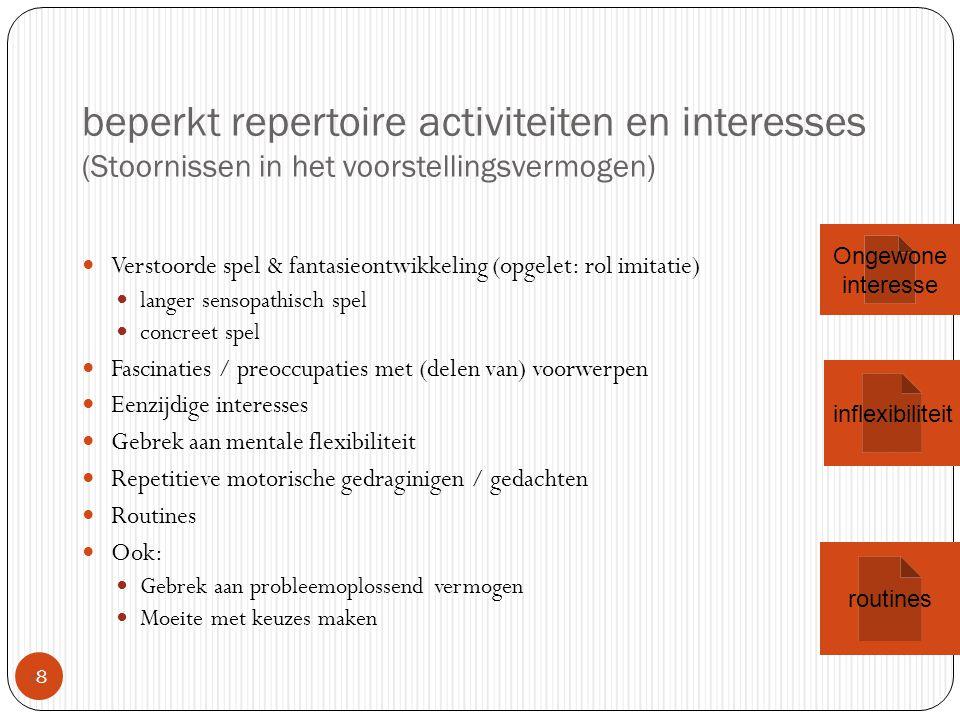 beperkt repertoire activiteiten en interesses (Stoornissen in het voorstellingsvermogen)