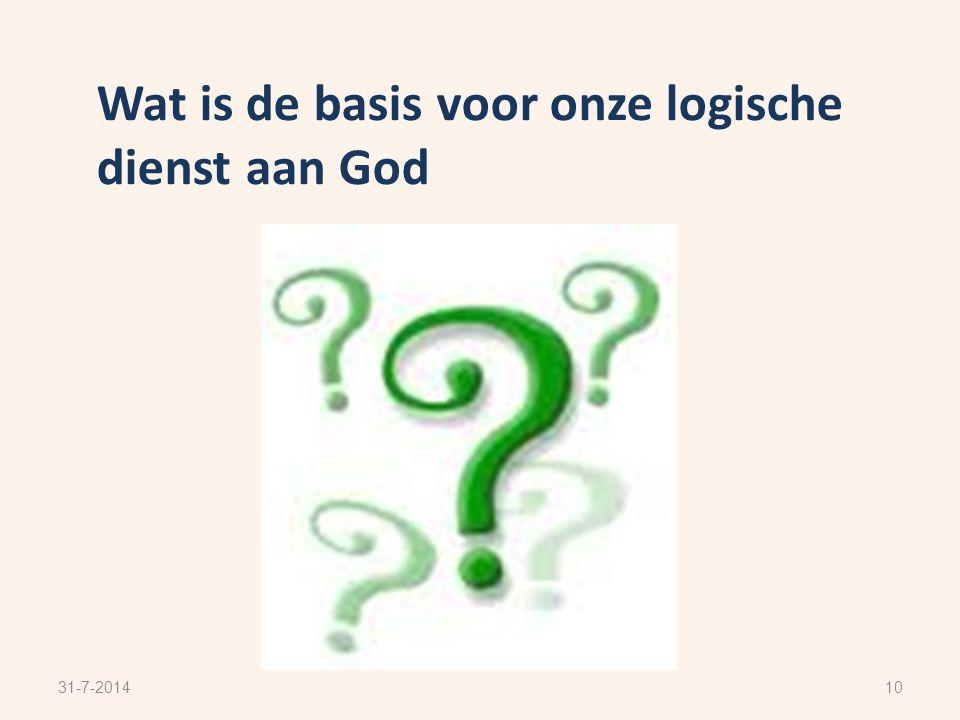Wat is de basis voor onze logische dienst aan God