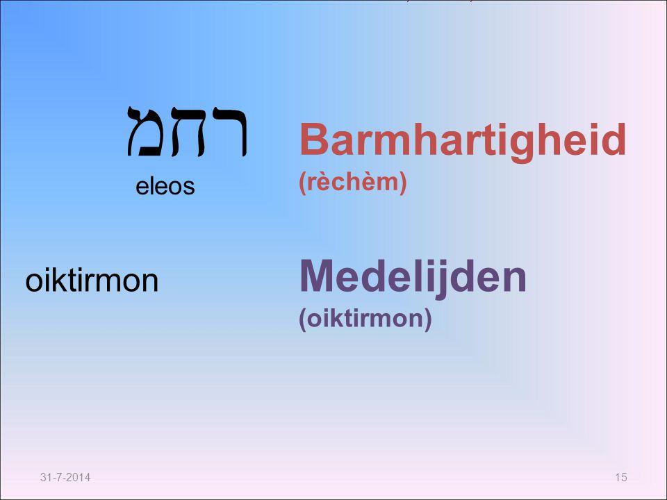 רחמ Barmhartigheid (rèchèm) Medelijden (oiktirmon) oiktirmon eleos