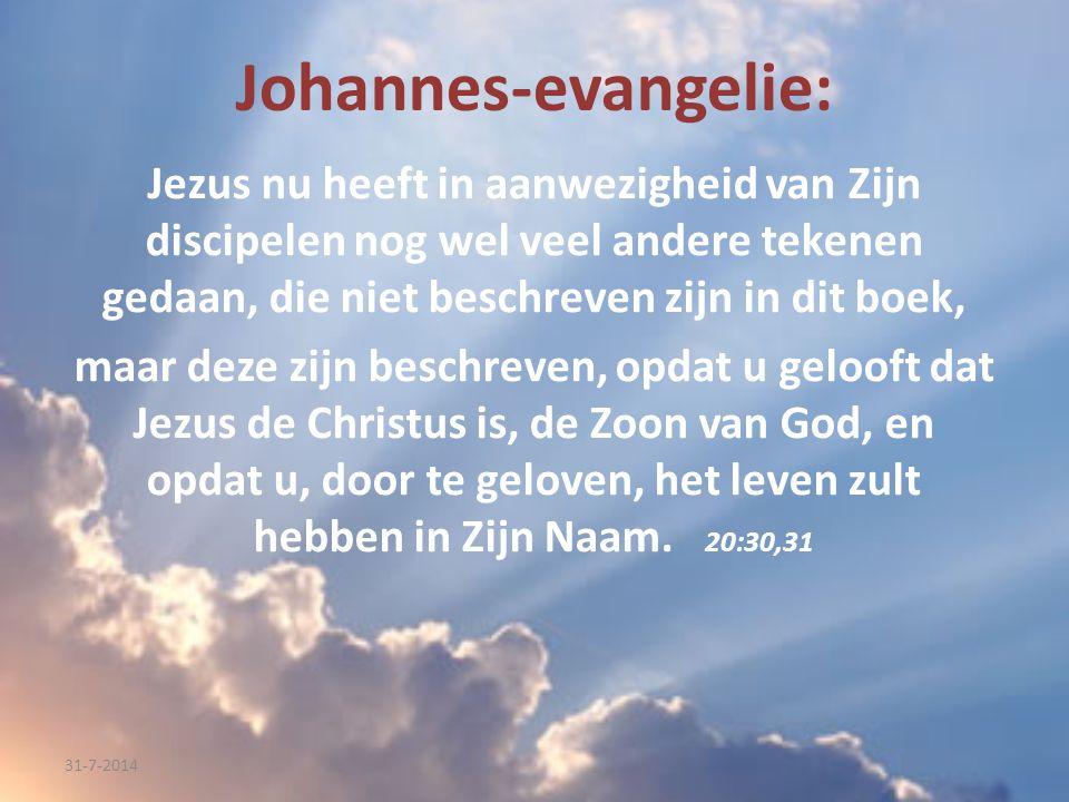Johannes-evangelie: Jezus nu heeft in aanwezigheid van Zijn discipelen nog wel veel andere tekenen gedaan, die niet beschreven zijn in dit boek,