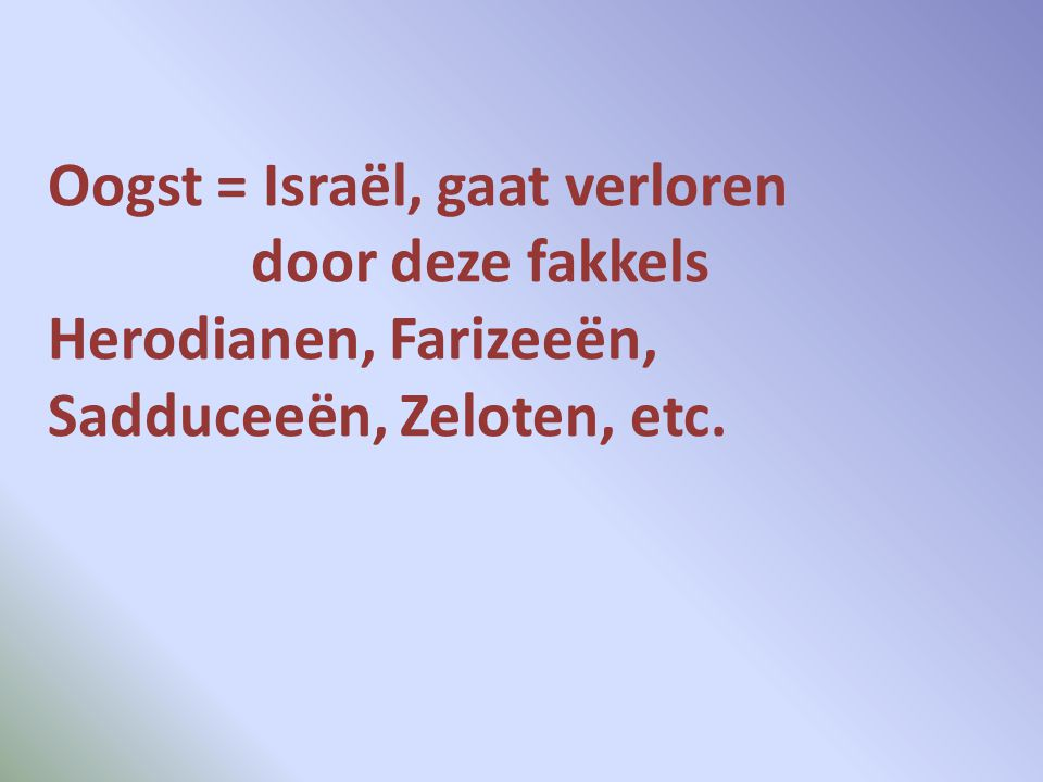 Oogst = Israël, gaat verloren