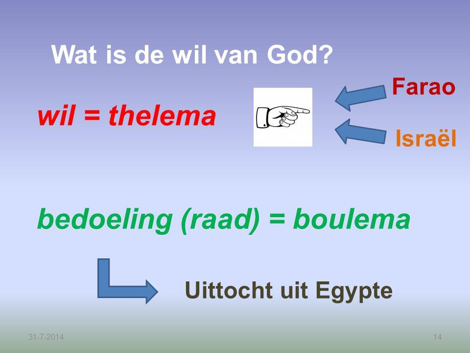 bedoeling (raad) = boulema
