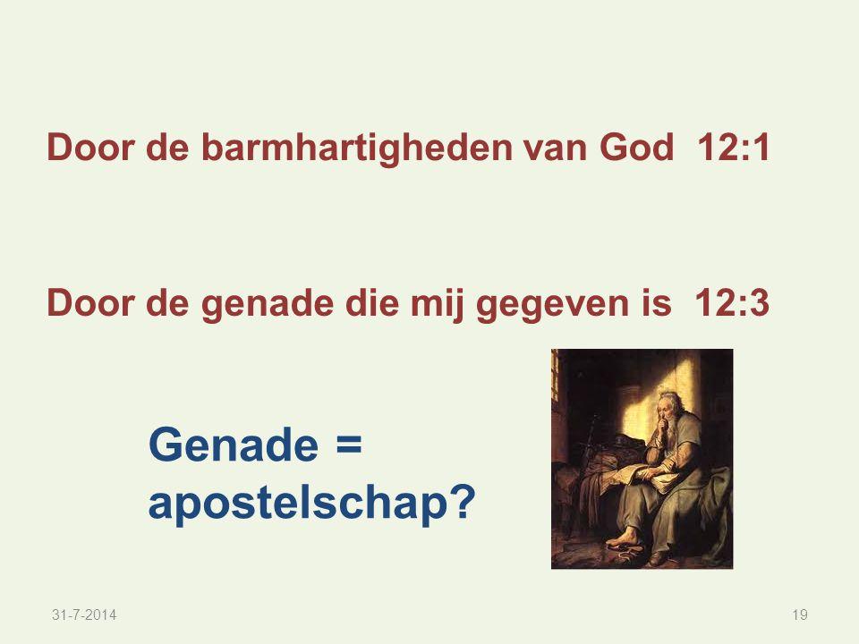 Genade = apostelschap Door de barmhartigheden van God 12:1