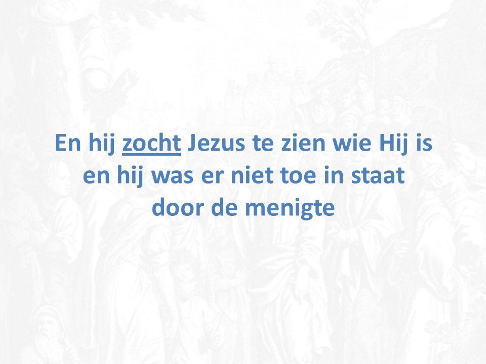 En hij zocht Jezus te zien wie Hij is en hij was er niet toe in staat door de menigte