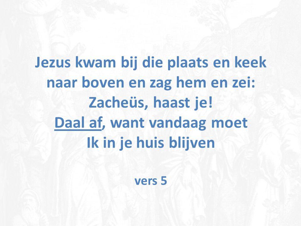 Jezus kwam bij die plaats en keek naar boven en zag hem en zei: Zacheüs, haast je.