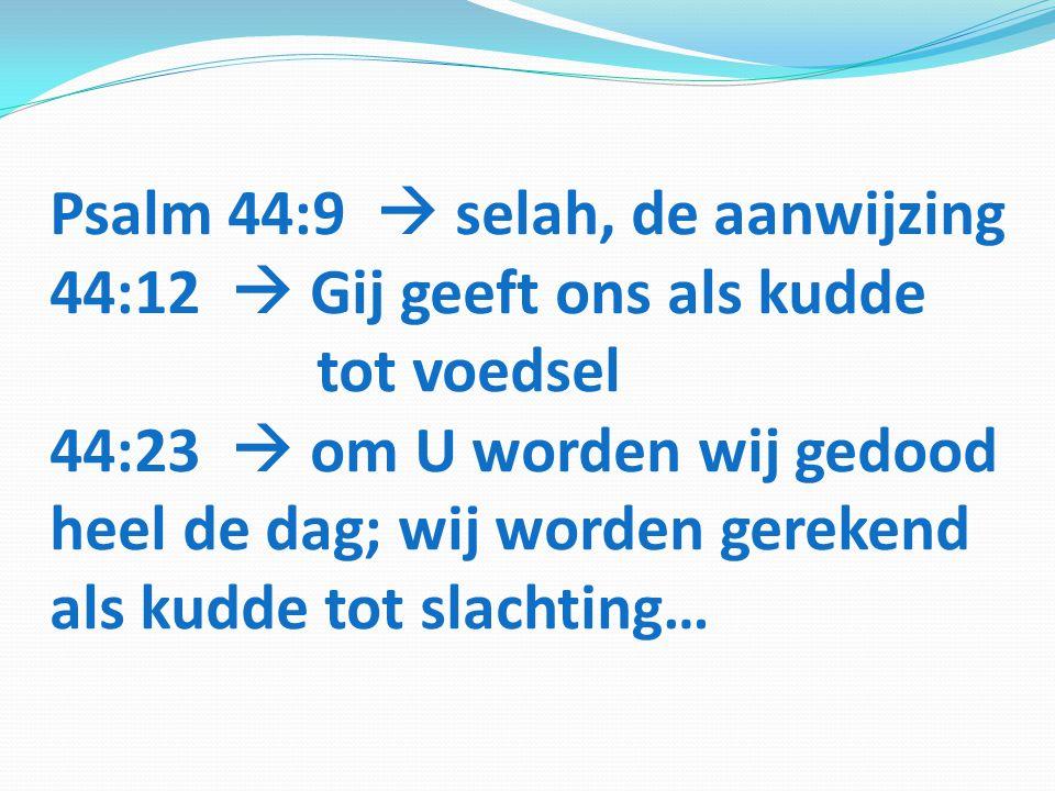 Psalm 44:9  selah, de aanwijzing 44:12  Gij geeft ons als kudde tot voedsel 44:23  om U worden wij gedood heel de dag; wij worden gerekend als kudde tot slachting…