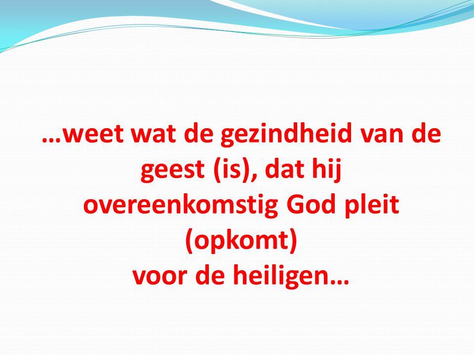 …weet wat de gezindheid van de geest (is), dat hij overeenkomstig God pleit (opkomt) voor de heiligen…