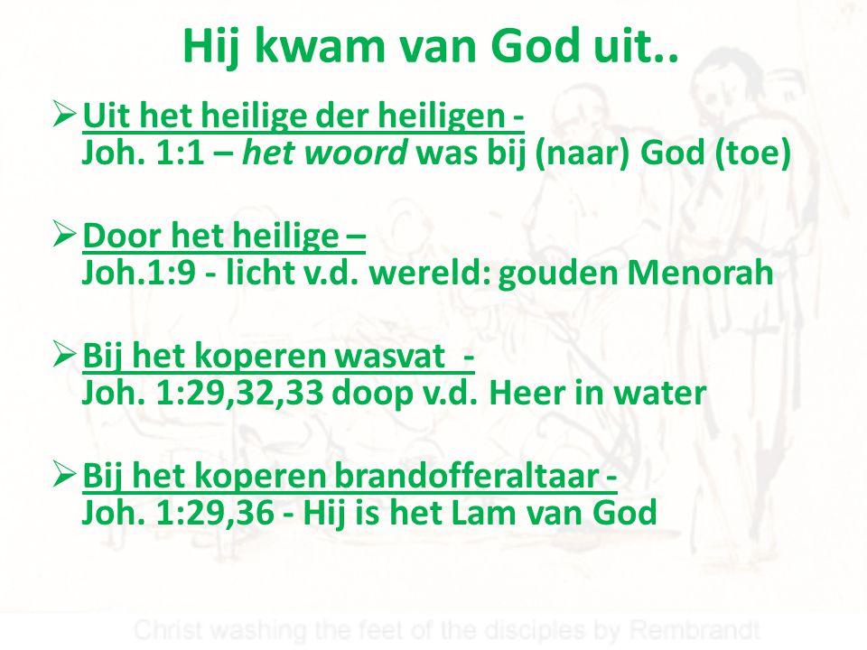 Hij kwam van God uit.. Uit het heilige der heiligen - Joh. 1:1 – het woord was bij (naar) God (toe)