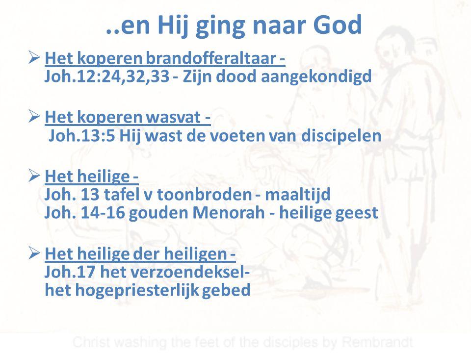 ..en Hij ging naar God Het koperen brandofferaltaar - Joh.12:24,32,33 - Zijn dood aangekondigd.