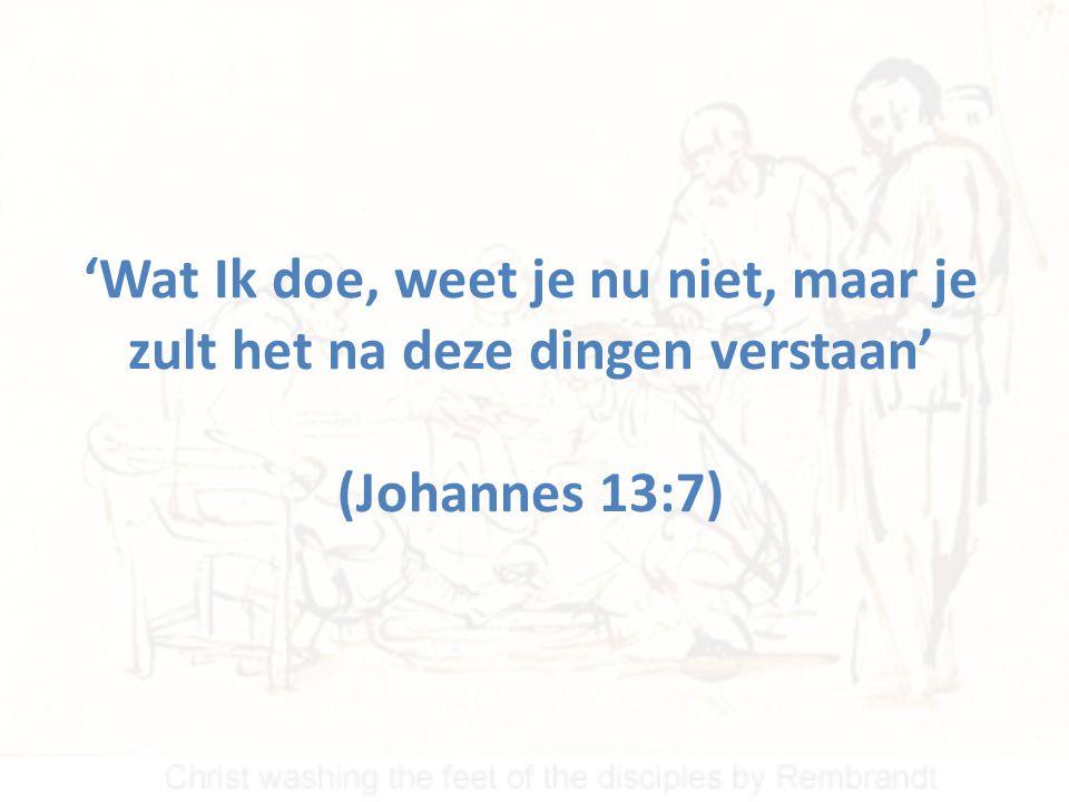 'Wat Ik doe, weet je nu niet, maar je zult het na deze dingen verstaan' (Johannes 13:7)