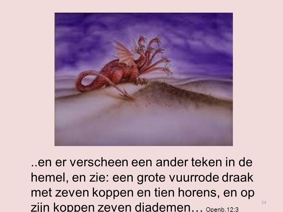 ..en er verscheen een ander teken in de hemel, en zie: een grote vuurrode draak met zeven koppen en tien horens, en op zijn koppen zeven diademen… Openb.12:3