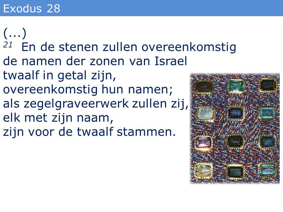21 En de stenen zullen overeenkomstig de namen der zonen van Israel