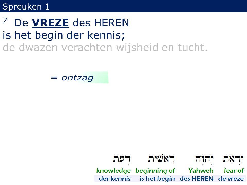 is het begin der kennis; de dwazen verachten wijsheid en tucht.