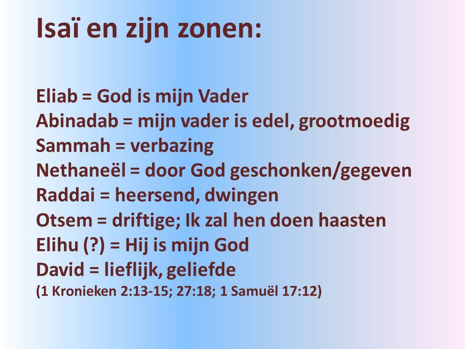 Isaï en zijn zonen: Eliab = God is mijn Vader Abinadab = mijn vader is edel, grootmoedig Sammah = verbazing Nethaneël = door God geschonken/gegeven Raddai = heersend, dwingen Otsem = driftige; Ik zal hen doen haasten Elihu ( ) = Hij is mijn God David = lieflijk, geliefde (1 Kronieken 2:13-15; 27:18; 1 Samuël 17:12)