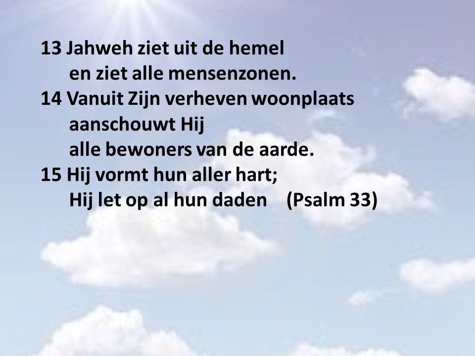 13 Jahweh ziet uit de hemel