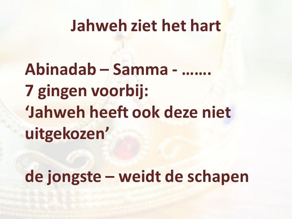 Jahweh ziet het hart Abinadab – Samma - ……. 7 gingen voorbij: 'Jahweh heeft ook deze niet uitgekozen'