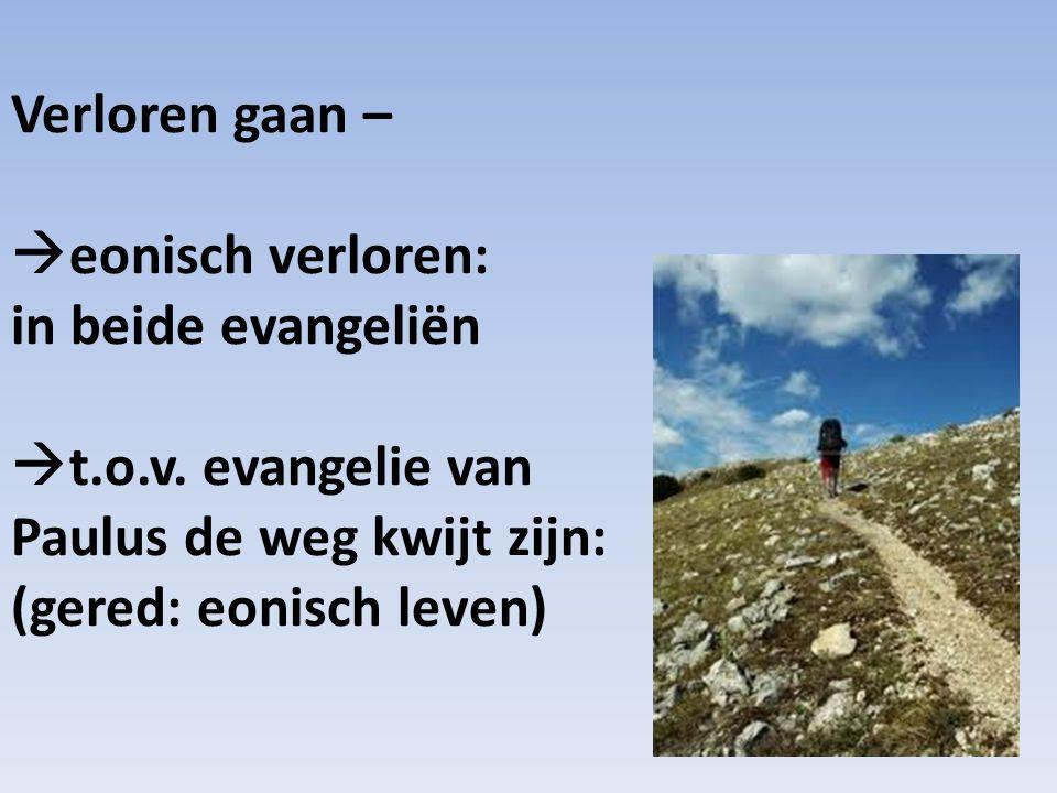 Verloren gaan – eonisch verloren: in beide evangeliën.