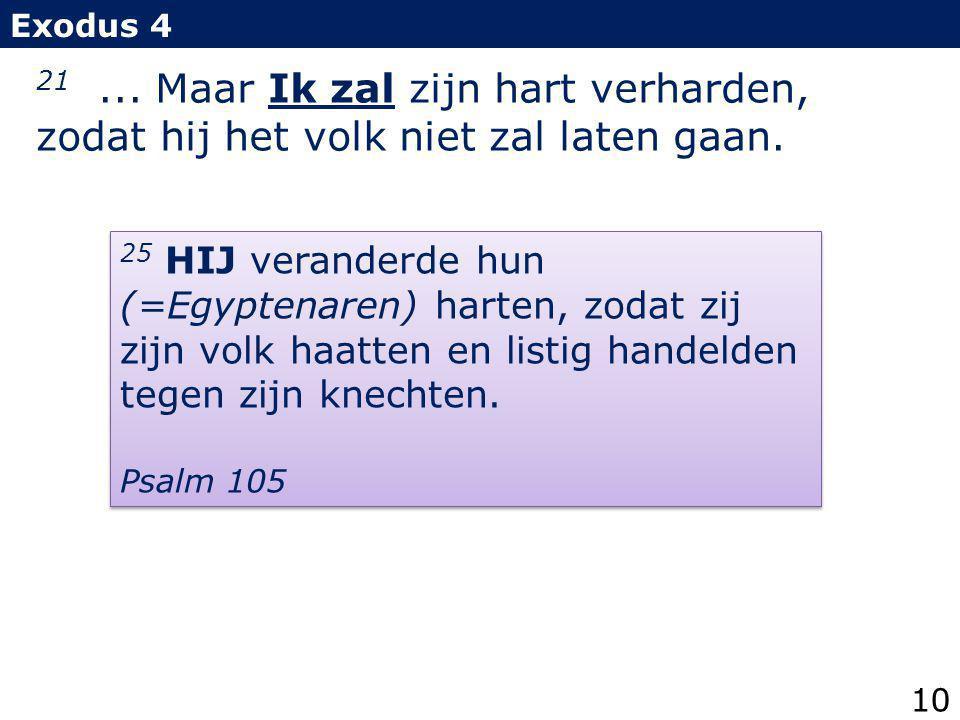 Exodus 4 21 ... Maar Ik zal zijn hart verharden, zodat hij het volk niet zal laten gaan.