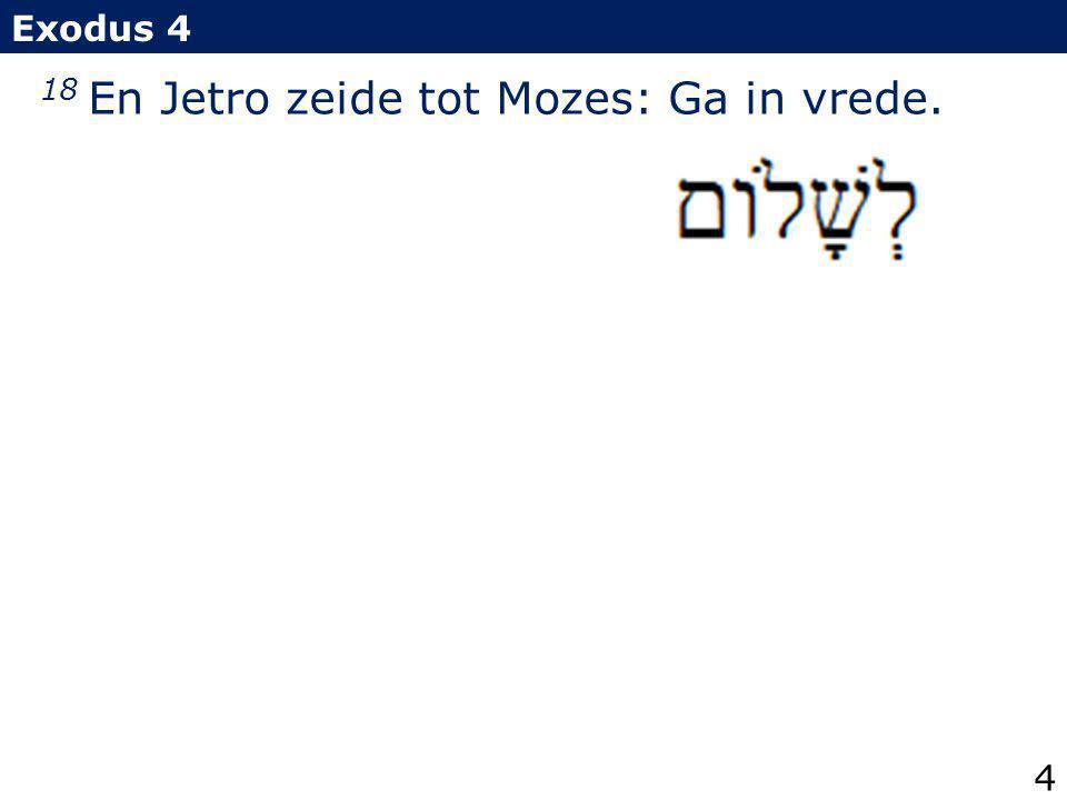 18 En Jetro zeide tot Mozes: Ga in vrede.