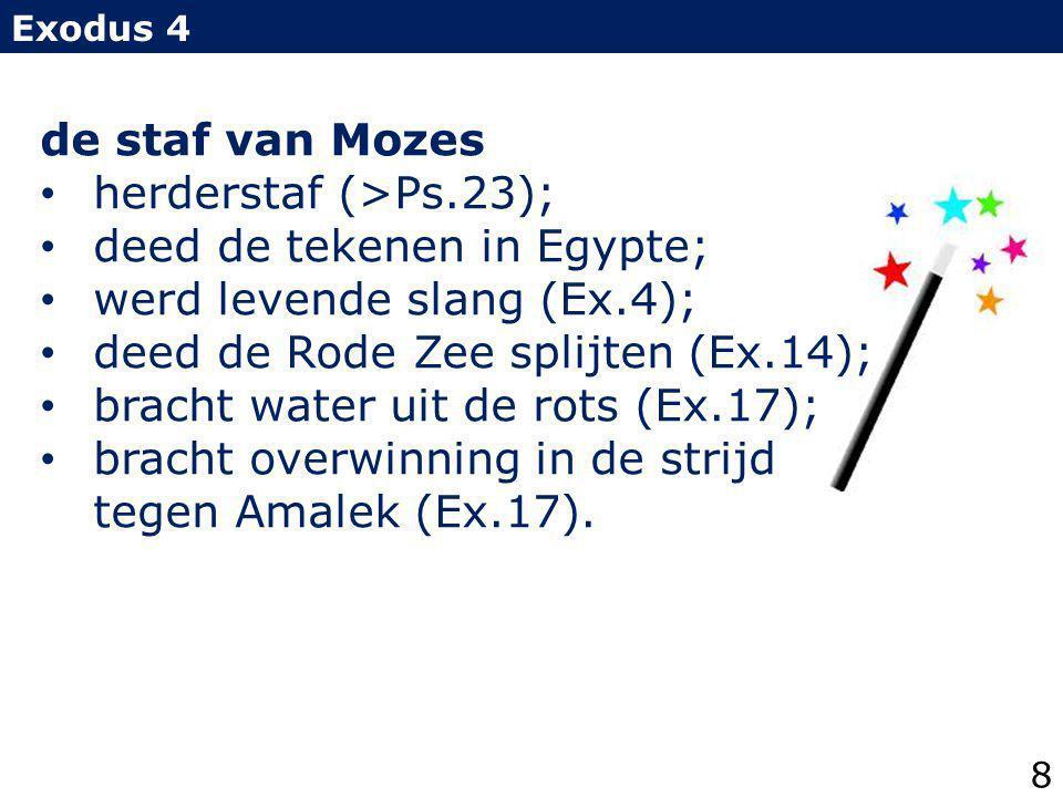 deed de tekenen in Egypte; werd levende slang (Ex.4);