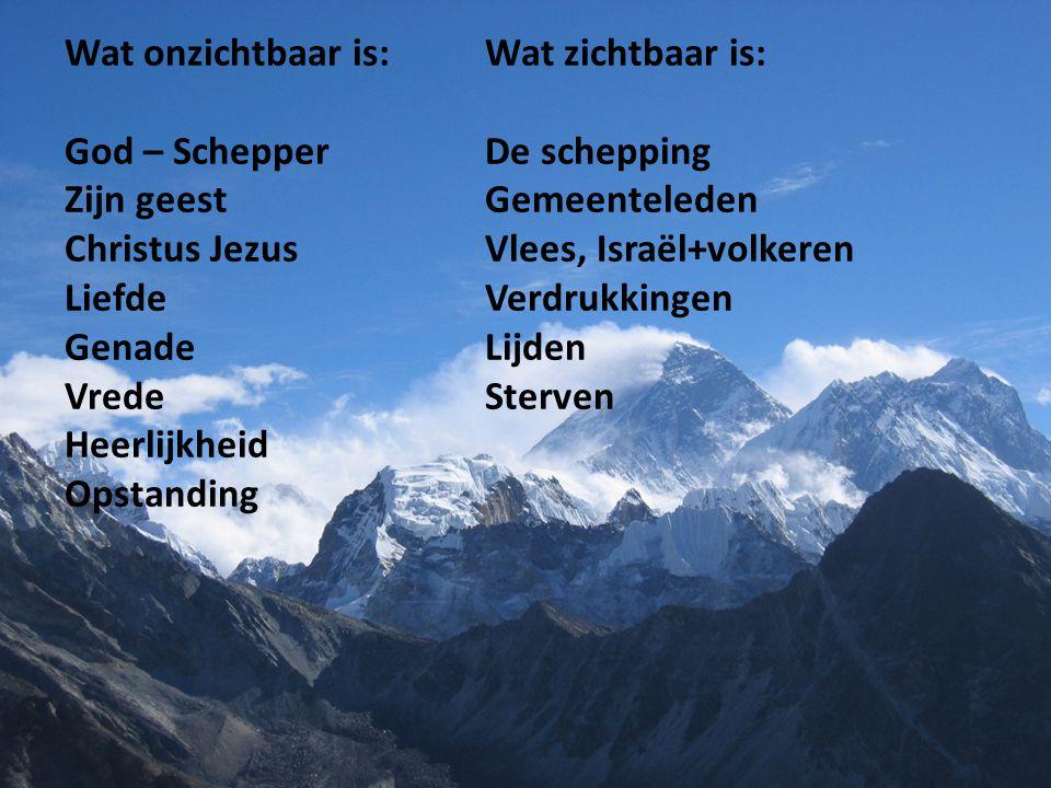 Wat onzichtbaar is:. Wat zichtbaar is: God – Schepper