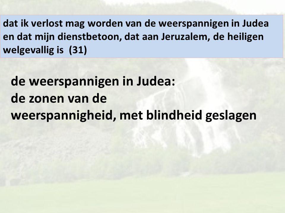 dat ik verlost mag worden van de weerspannigen in Judea en dat mijn dienstbetoon, dat aan Jeruzalem, de heiligen welgevallig is (31)