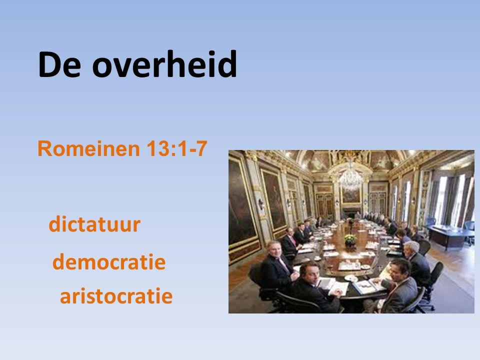 De overheid Romeinen 13:1-7 dictatuur democratie aristocratie