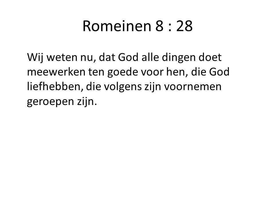 Romeinen 8 : 28 Wij weten nu, dat God alle dingen doet meewerken ten goede voor hen, die God liefhebben, die volgens zijn voornemen geroepen zijn.