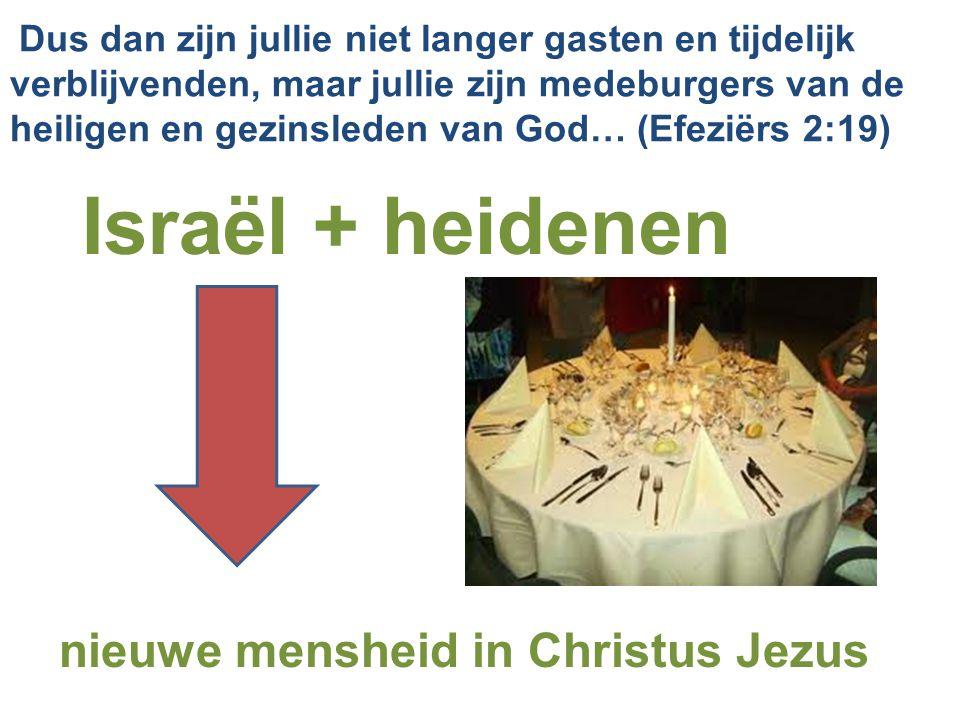Israël + heidenen nieuwe mensheid in Christus Jezus