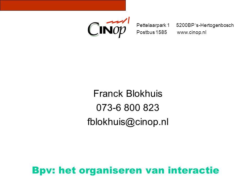 Bpv: het organiseren van interactie