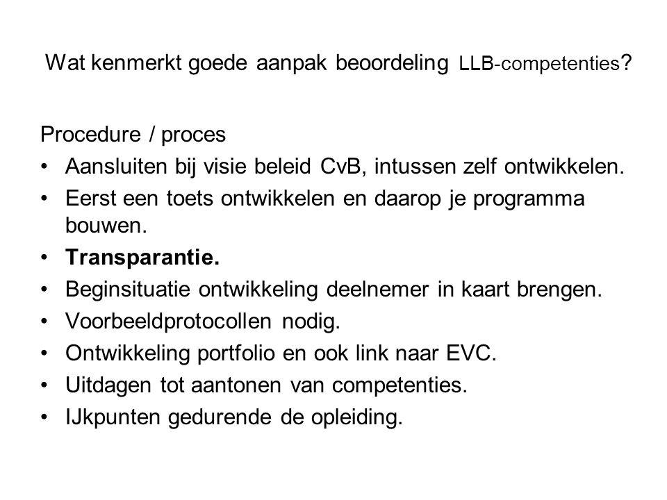 Wat kenmerkt goede aanpak beoordeling LLB-competenties
