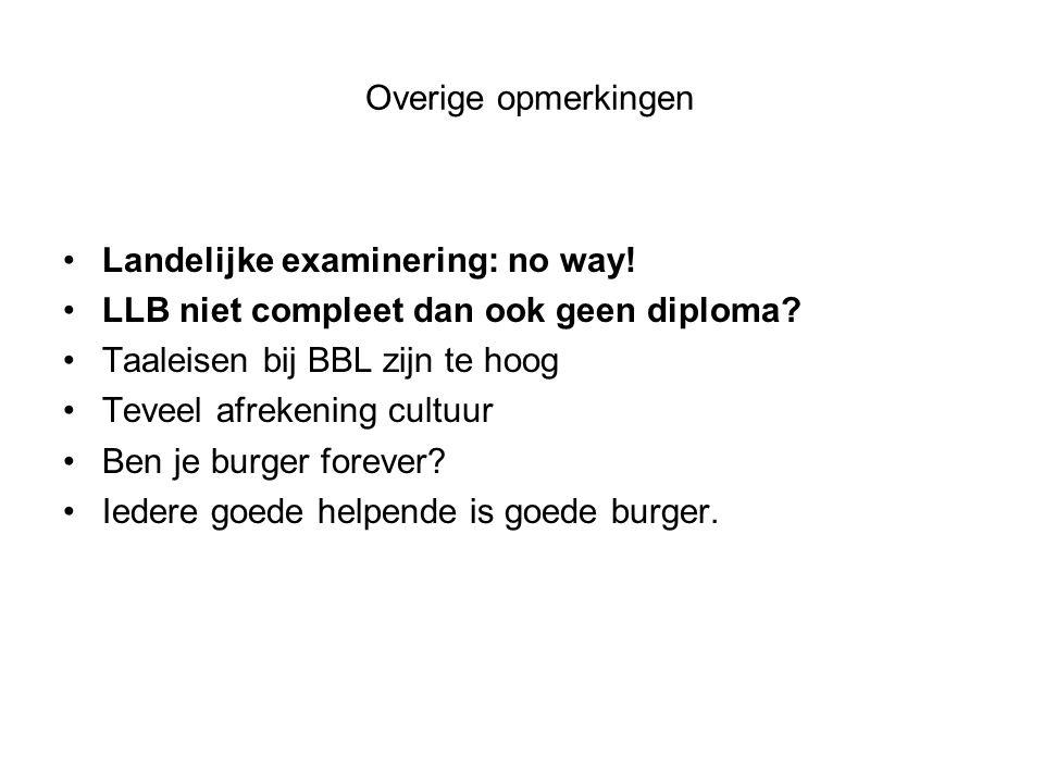 Overige opmerkingen Landelijke examinering: no way! LLB niet compleet dan ook geen diploma Taaleisen bij BBL zijn te hoog.