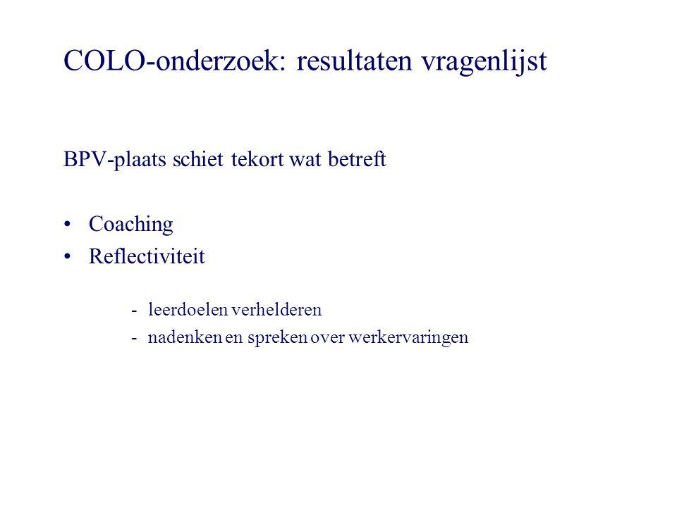 COLO-onderzoek: resultaten vragenlijst
