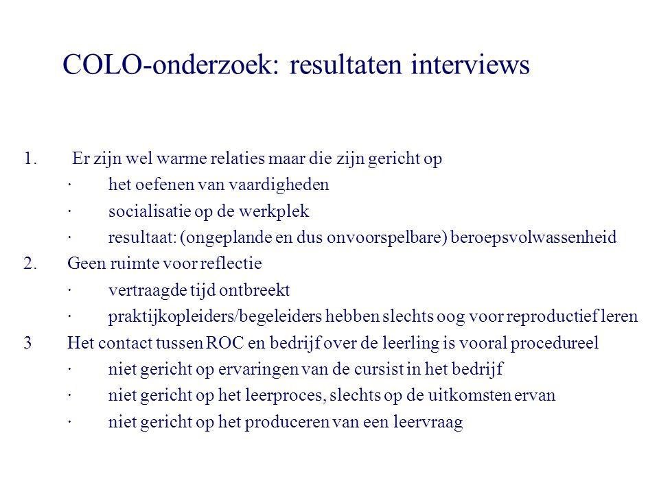 COLO-onderzoek: resultaten interviews