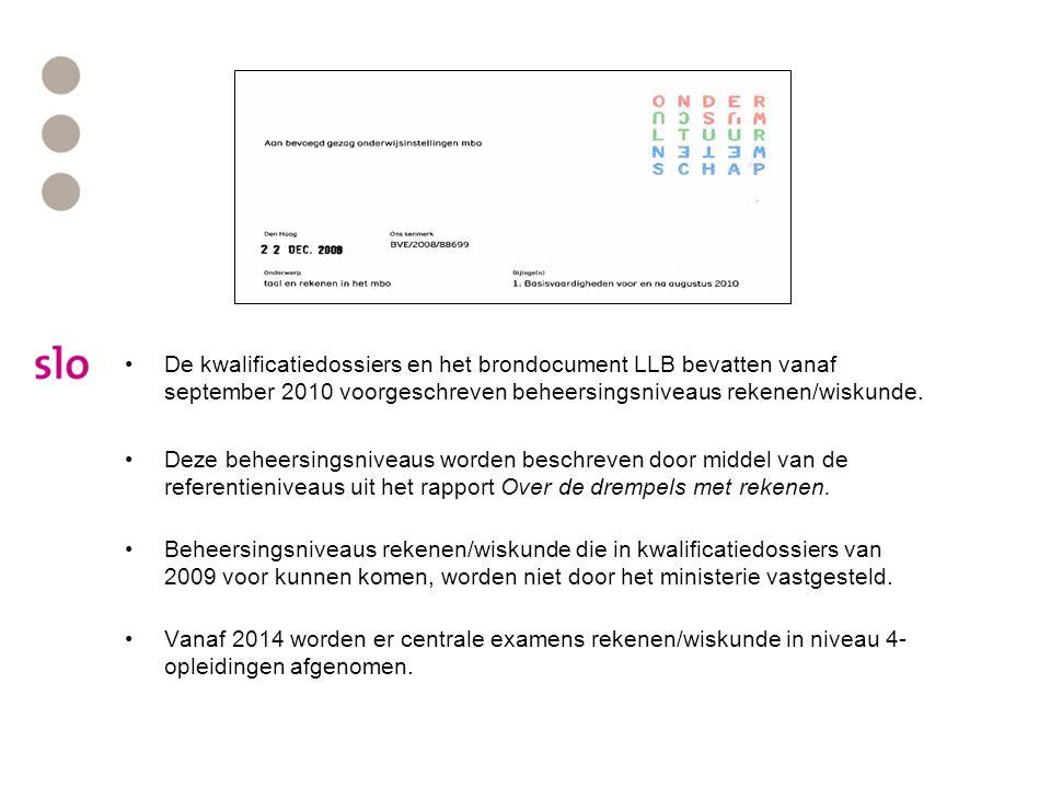 De kwalificatiedossiers en het brondocument LLB bevatten vanaf september 2010 voorgeschreven beheersingsniveaus rekenen/wiskunde.