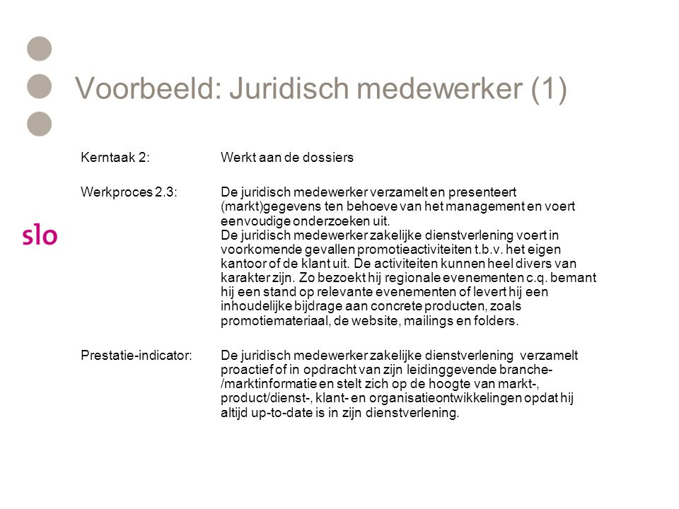 Voorbeeld: Juridisch medewerker (1)