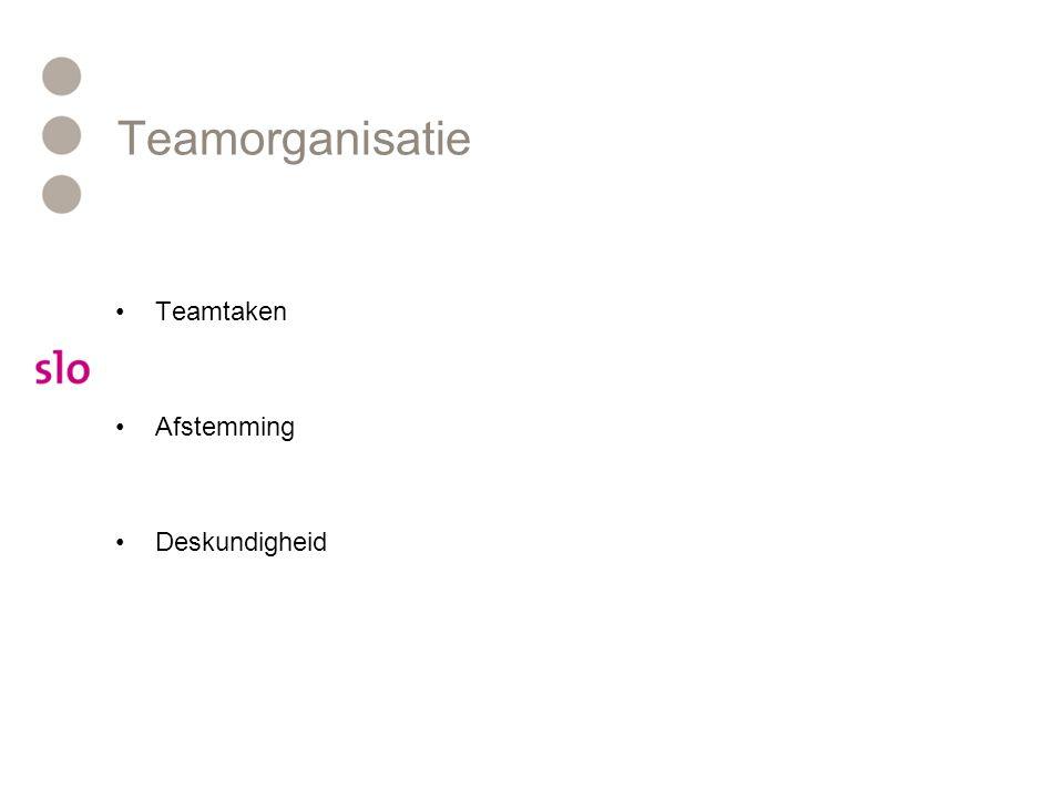 Teamorganisatie Teamtaken Afstemming Deskundigheid