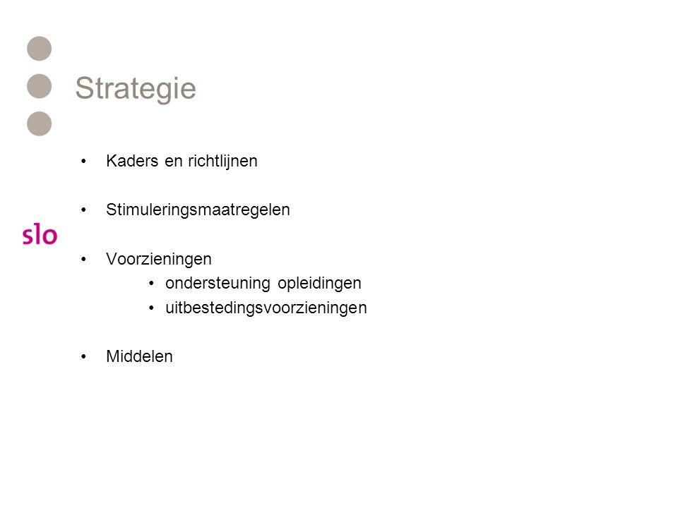 Strategie Kaders en richtlijnen Stimuleringsmaatregelen Voorzieningen