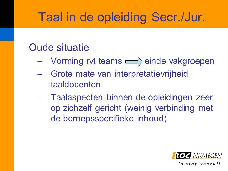 Taal in de opleiding Secr./Jur.