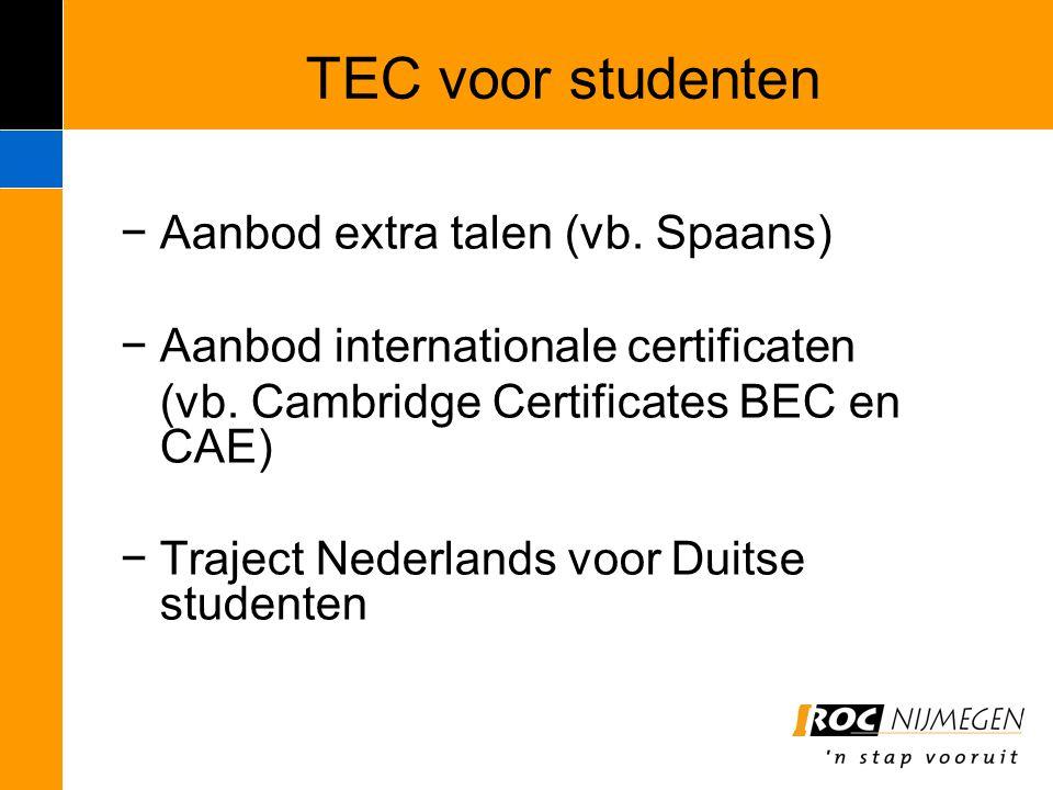TEC voor studenten Aanbod extra talen (vb. Spaans)