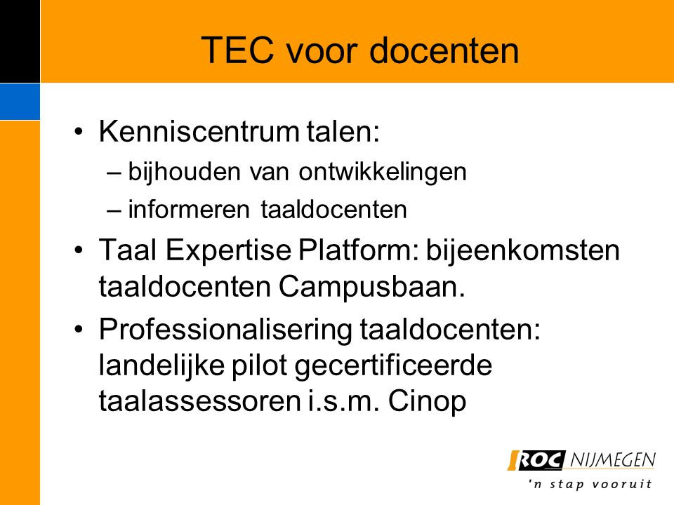TEC voor docenten Kenniscentrum talen: