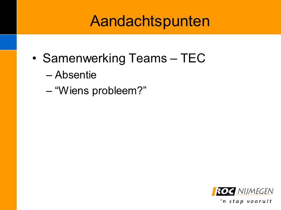 Aandachtspunten Samenwerking Teams – TEC Absentie Wiens probleem
