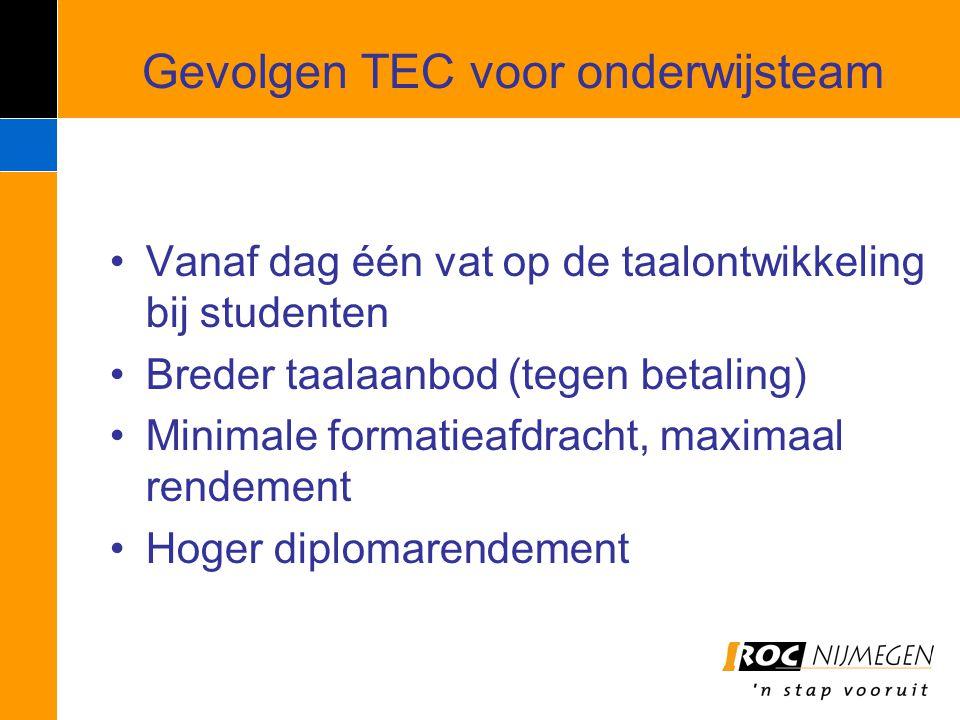 Gevolgen TEC voor onderwijsteam