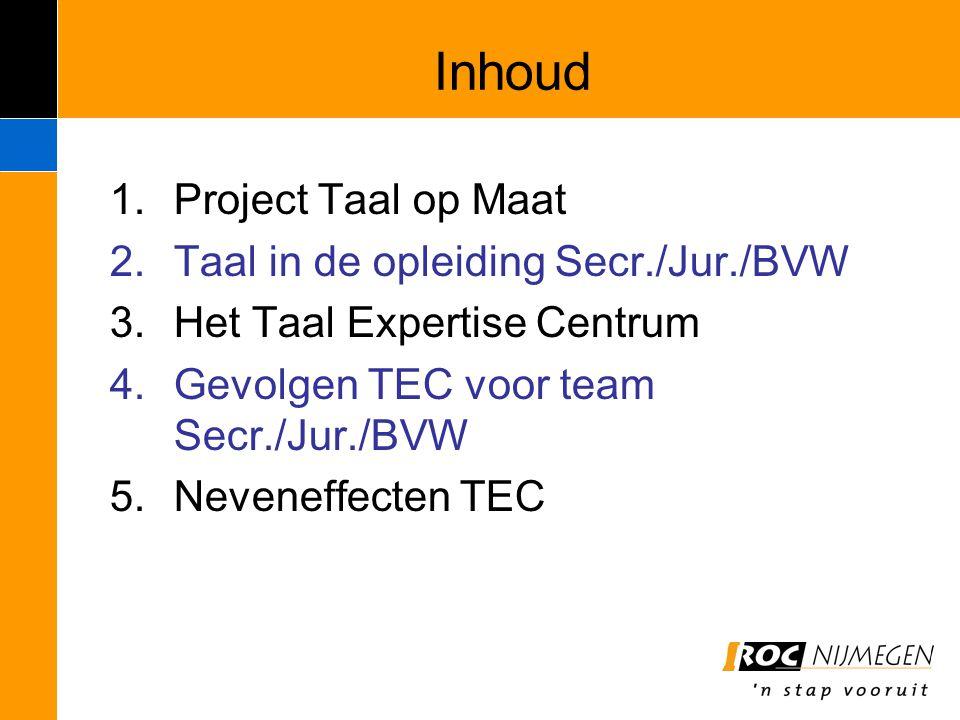 Inhoud Project Taal op Maat Taal in de opleiding Secr./Jur./BVW