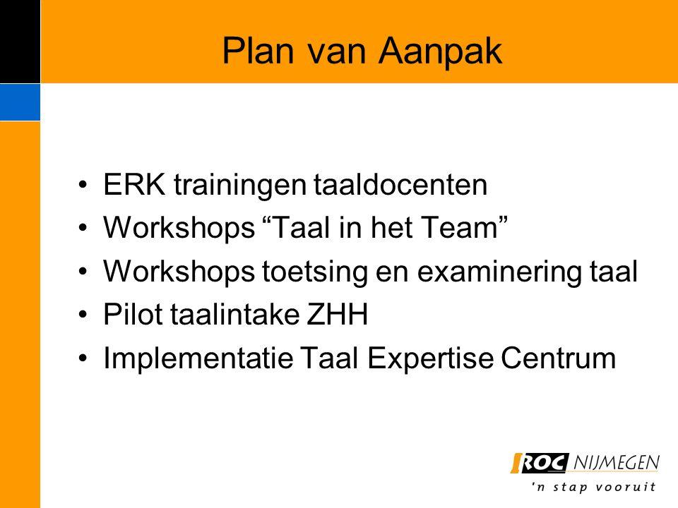 Plan van Aanpak ERK trainingen taaldocenten