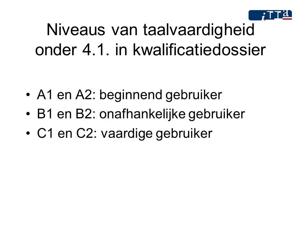 Niveaus van taalvaardigheid onder 4.1. in kwalificatiedossier