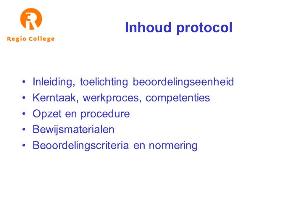 Inhoud protocol Inleiding, toelichting beoordelingseenheid